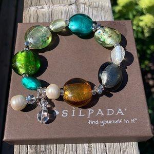 B1931 Silpada sterling, glass & pearl bracelet